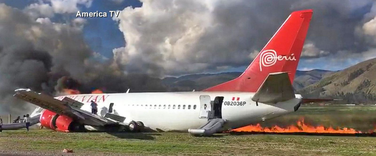 VIDEO: Video shows passenger jet catch fire in Peru