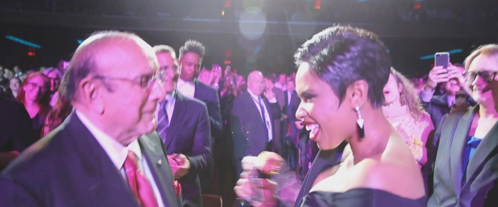 VIDEO: Jennifer Hudson dances with music mogul Clive Davis at documentary premiere