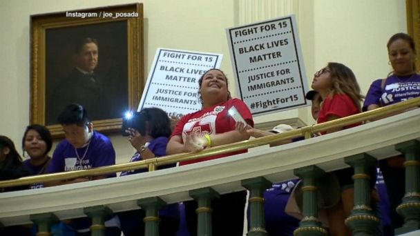 VIDEO: Texas lawmakers scuffle over sanctuary cities law