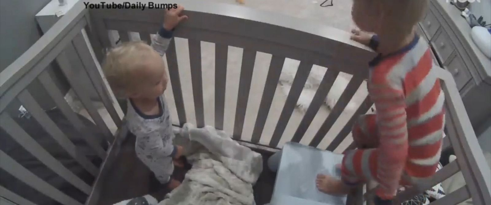 VIDEO: Brother helps toddler escape from crib: You can do it. Finn, jump to me!