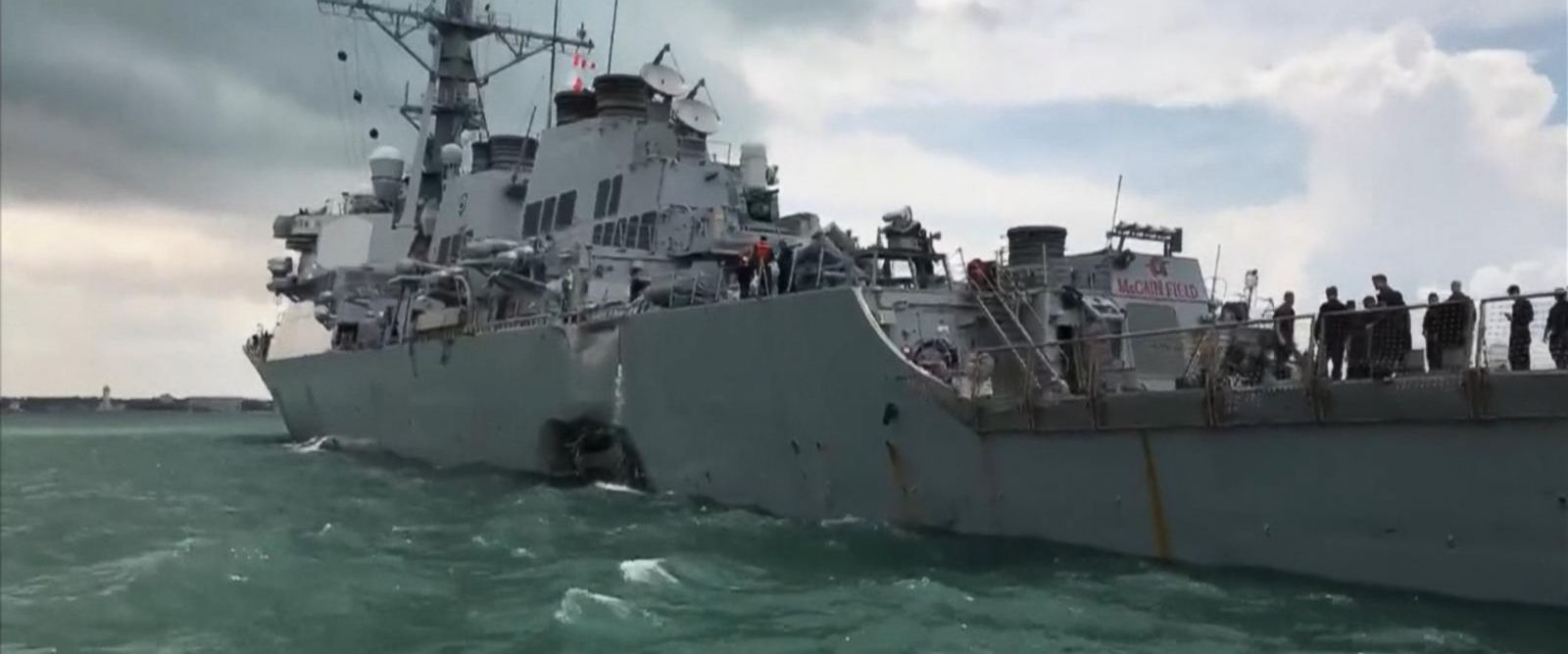 VIDEO: 10 missing after US Navy destroyer collides with merchant ship off Singapore