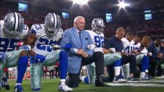 VIDEO: Dallas Cowboys, Jerry Jones take knee before national anthem