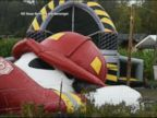 WATCH:  Inflatable trampoline goes airborne, drags woman