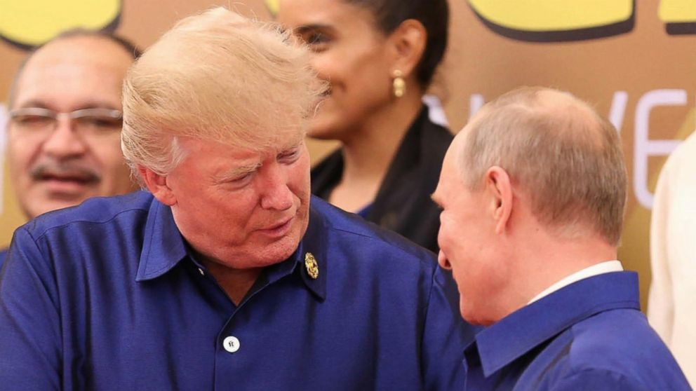 Trump travels to Vietnam  and shakes hands with Putin