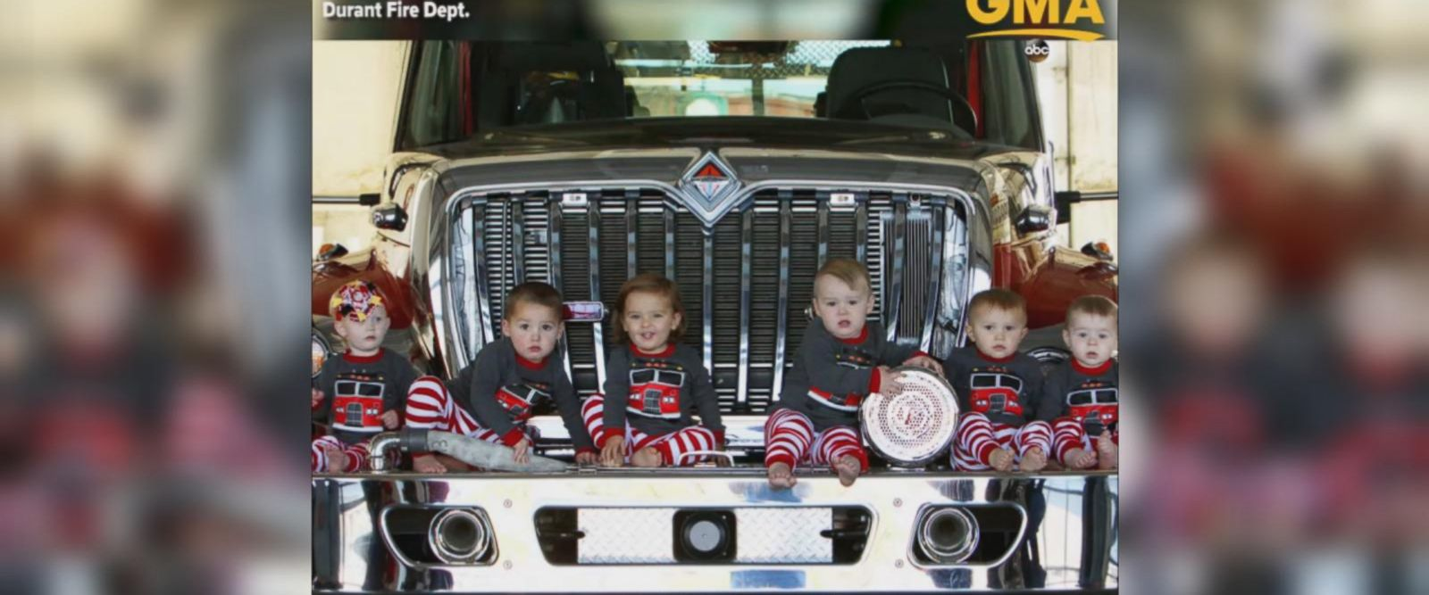 VIDEO: 6 firefighter babies born within months re-create station Christmas card 1 year later