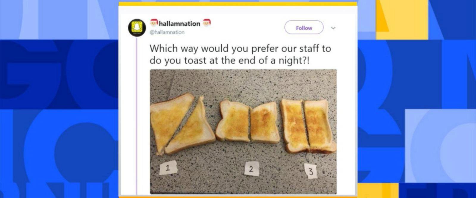 VIDEO: Twitter split over how to slice toast