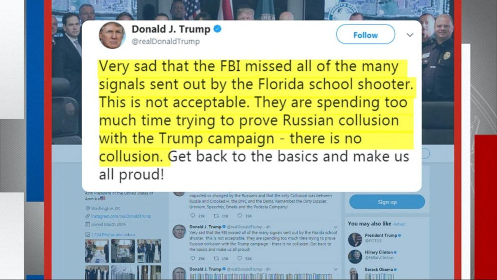 Trump blasts the FBI over Florida school shooting and Russia investigation