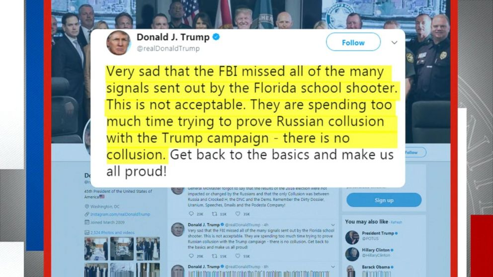 Trump says FBI missed signals from Florida shooter due to Russia probe