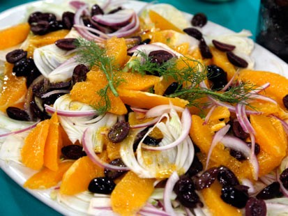 Orange, fennel and black olive salad