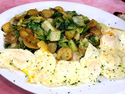 Rachael Ray's Potatoes with Dandelion Greens and Fried Eggs