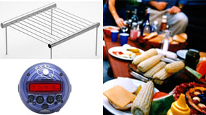 PHOTO Clockwise from left: The Grilliput Portable Camping Grill, a file photo of a barbeque, and the Radica 20Q Artificial Intelligence Game are shown.