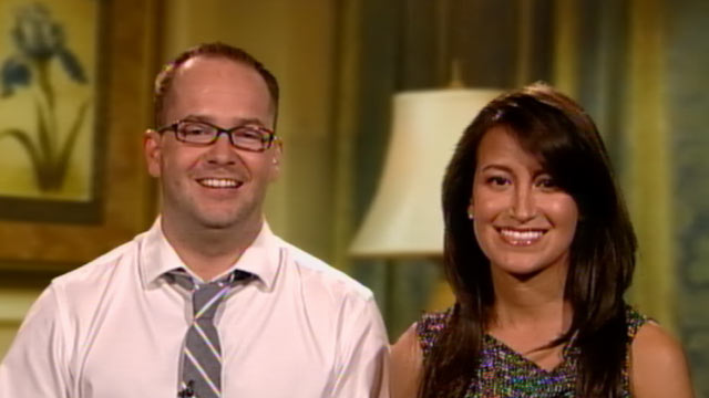 "PHOTO: Rob McCool and Jeanine Holguin, whose wedding was crashed by Justin Bieber, appear on ""Good Morning America,"" July 18, 2011."