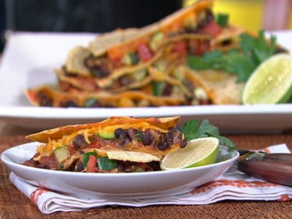 Black bean and zucchini quesadillas.