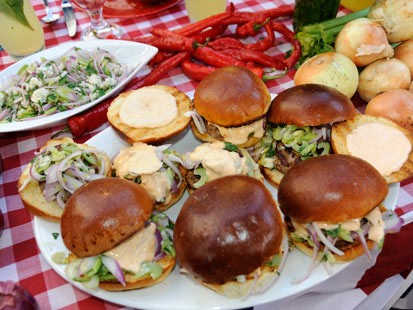 Carla Hall prepares a delicious burger for Labor Day.