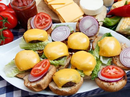 Rocco DiSpirito prepares his cheeseburgers on