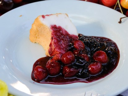 Rocco DiSpirito's angel food and cherry cake with ginger cream.