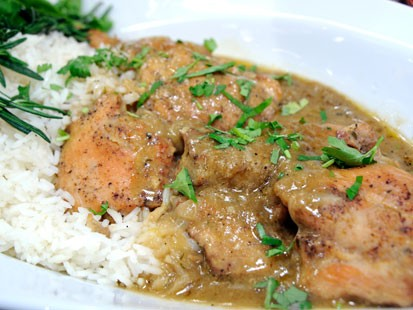 Emeril's braised chicken.