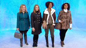"PHOTO Winter coats in this fashionable styles are displayed on ""Good Morning America,"" Nov. 8, 2010."