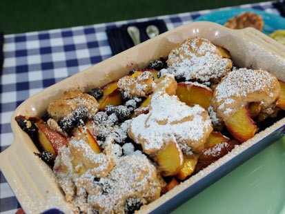 Roccos Peach and Blueberry Cobbler with Ginger and Cinnamon