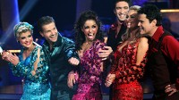 "PHOTO KELLY OSBOURNE, LOUIS VAN AMSTEL, MYA, DMITRY CHAPLIN, KYM JOHNSON, DONNY OSMOND compete in the ""Dancing with the Stars"" finals."