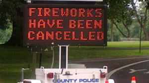 PHOTO: Cancelled Fireworks sign