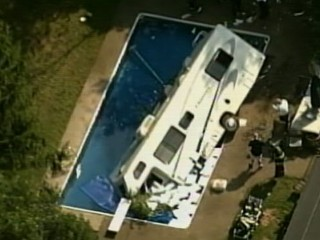 Watch: RV Plunges Into Brockton, Mass., Pool