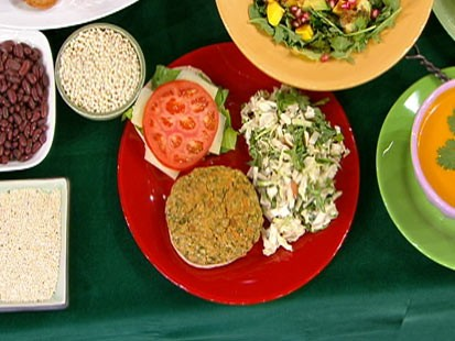 Diane Henderiks' garden veggie burger and Asian slaw are shown.