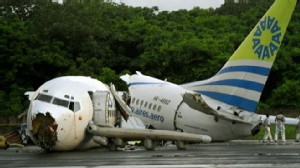 VIDEO: A plane cracked into pieces in Colombia after landing during a thunderstorm.