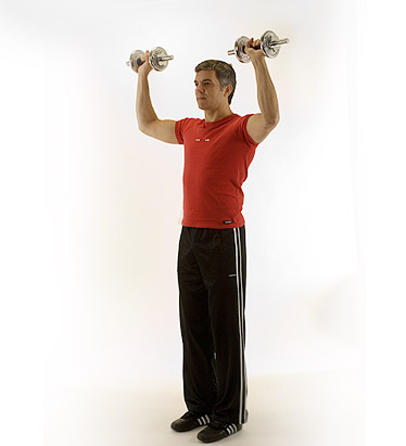 To begin the shoulder press,