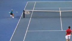 VIDEO: Dylan Colaci, 14, managed to grab a speeding stray ball at the Australian Open.