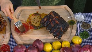 "VIDEO: Chef Adam Perry prepares dishes from his new book, ""Serious Barbecue."""