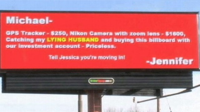 VIDEO: A billboards message from a jilted spouse may just be a boost for a local restaurant.