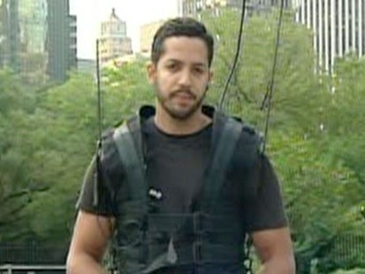 A picture of David Blaine in Central Park.