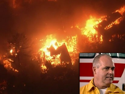 A picture of the wildfires and Michael Boyle.