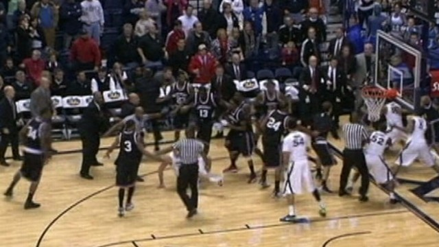 VIDEO: The Xavier and Cincinnati rivalry came to a head with bench clearing brawl.