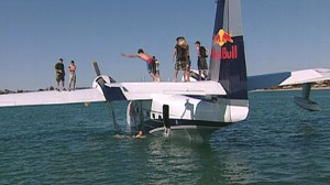 Some say 55-year-old seaplane used to market the energy drink is unsafe.