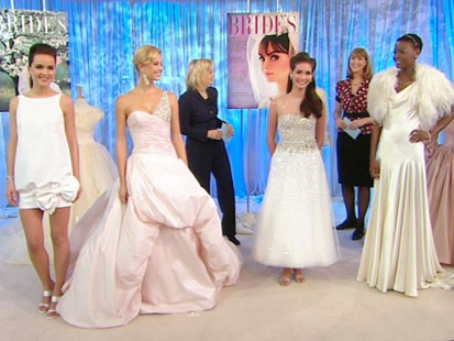 VIDEO: Models wearing several different styles of wedding gowns.