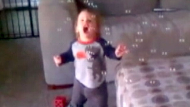 VIDEO: 12-month-old Lennon Gruber couldnt get enough of his first sight of bubbles.