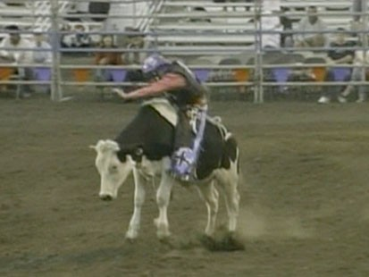 A picture of Levi Johnson riding a bull.