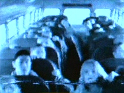 A video still from a school bus camera