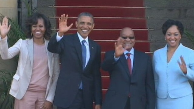 VIDEO:Obama continues trip in South Africa as former president Nelson Mandela remains in hospital.