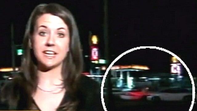 VIDEO: Viewers shocked as one car side-swipes another during evening broadcast.