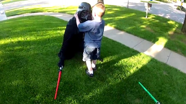 "VIDEO: Justin Whyte, 33, surprised his son at home dressed as Darth Vader for ""Star Wars"" themed birthday."