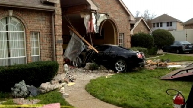 VIDEO: Massive hole left in homeowners home after driver loses control.