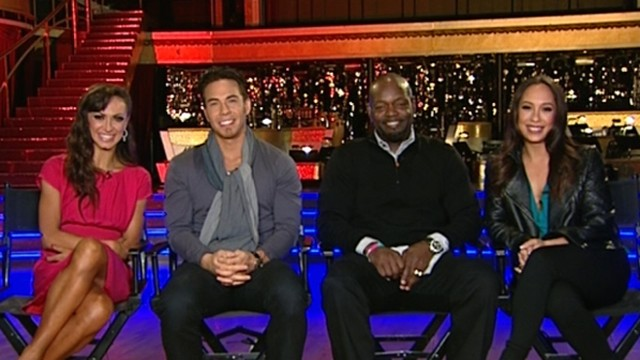 "VIDEO: Apolo Ohno, Emmitt Smith join partners Karina Smirnoff and Cheryl Burke on ""GMA."""
