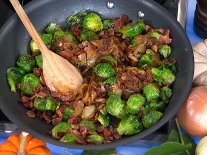 pan-roasted brussels sprouts with caramelized onions and crispy