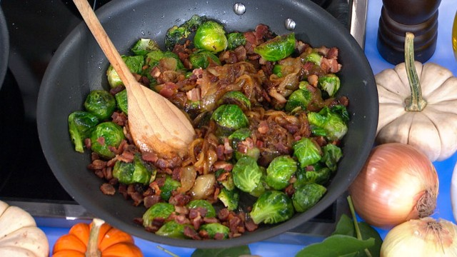 VIDEO: Lagasse whips up voter favorite roasted Brussels sprouts with caramelized onions and pancetta.