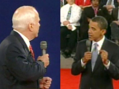 A split screen picture of John McCain and Barack Obama from the debate.
