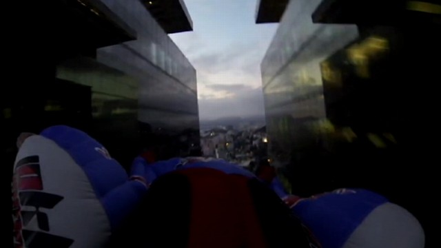 VIDEO: An improbable stunt over the skies of Rio de Janeiro was captured on tape.