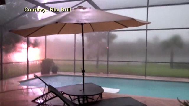 VIDEO: Rita Krill, 53, caught a fireball on camera while shooting a thunderstorm Oct. 5 in Naples, Fla.